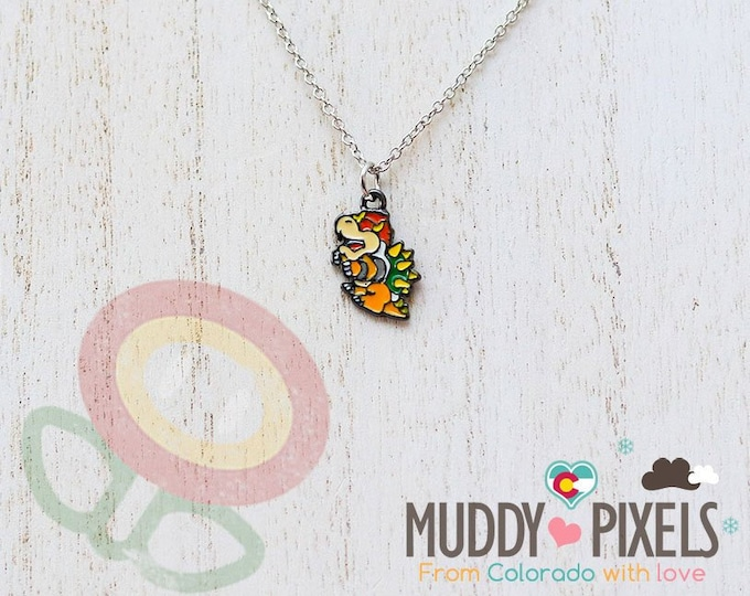 Very Petite Mario Bros Necklace featuring Bowser in black setting