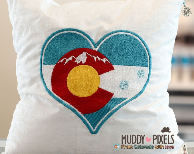 Colorado Heart with Mountains Custom Charm Pillow