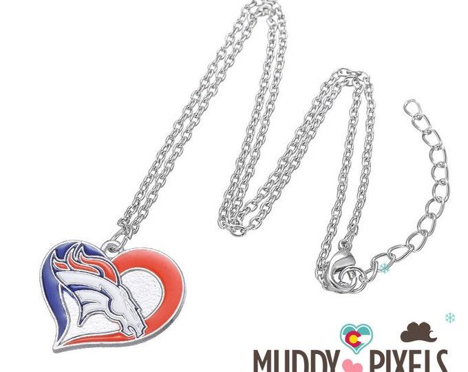 Heart Shaped Denver Broncos Logo Resin Coated Necklace!