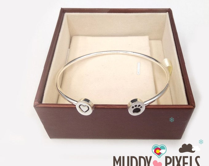 Kawaii Dog or Cat with heart Paw Love Bracelet! Silver