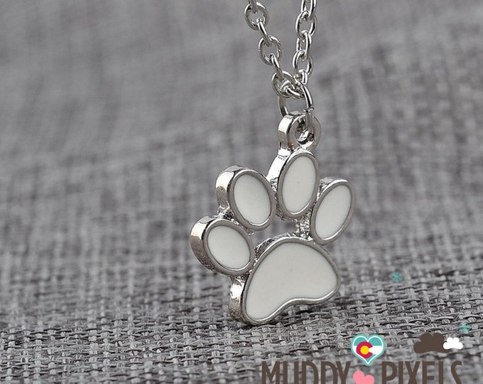 Kawaii Dog or Cat with heart Paw enamel necklace! Silver
