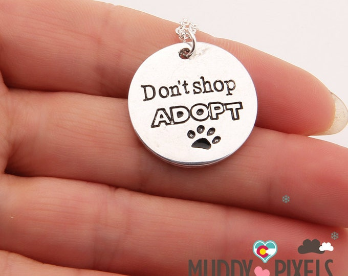 Kawaii Stamped Adopt Don't Shop necklace! Pet Adoption