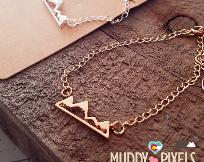 Tiny Colorado Mountain Pride Bracelet or Anklet - Cute 1 Inch charm!