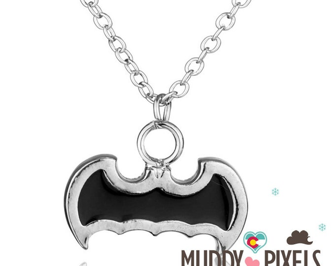 Kawaii Little Spooky Black Enamel Bat Necklace!