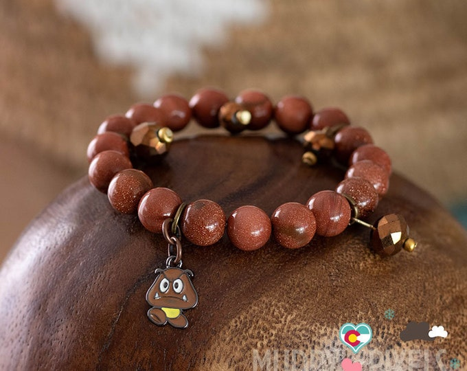 Cute Mario Brothers beaded bracelet or anklet! OOAK Goomba