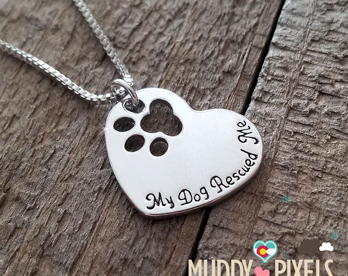 Cute animal pet heart in memory stamped paw necklace! My Dog Rescued Me