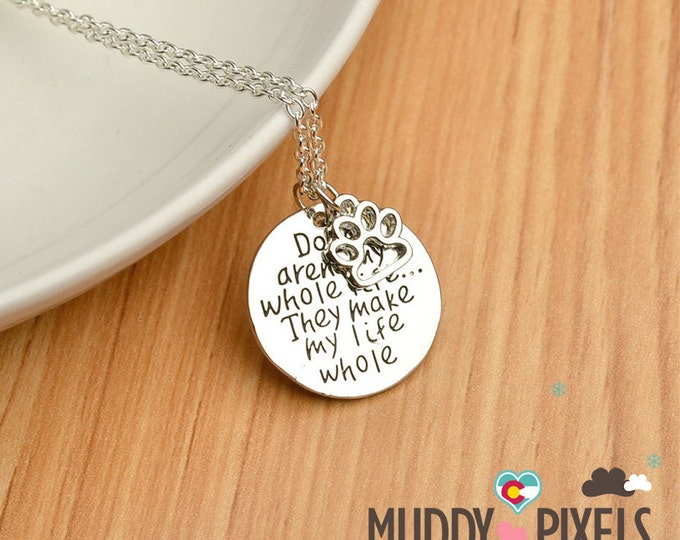 Kawaii Dog stamped Dog tag necklace! Dogs made my life whole