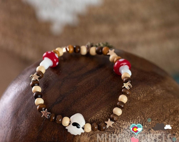 Cute Mario Brothers Blooper beaded bracelet or anklet! OOAK Tri Color w Mushrooms