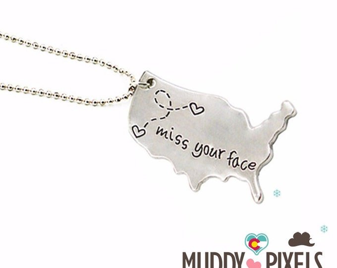 Cute Long Distance Relationship Necklace - miss your face