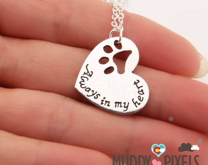 Kawaii Heart Punched In Memory Dog Lover necklace! Always in my heart