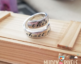 Unique Beautiful Religious Wrap-Around Ring -This too shall pass