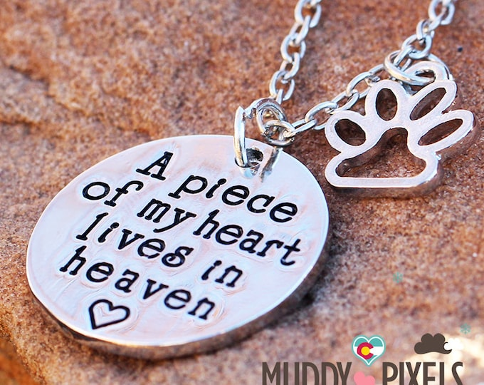 Cute animal pet heart in memory stamped paw necklace! A piece of my heart lives in heaven