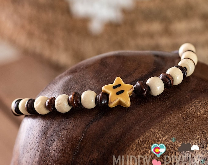 Cute Mario Brothers Porcelain Star beaded bracelet or anklet! OOAK