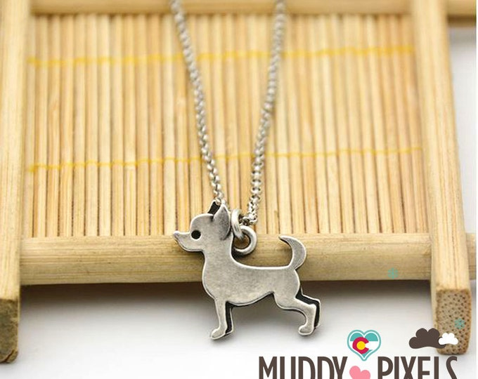 Cute Rustic Silver 2D Bohemian Chihuahua Necklace