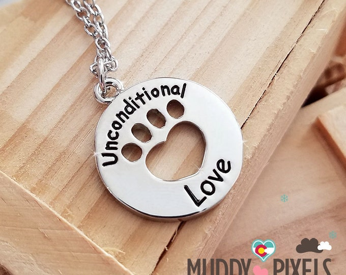 Cute animal pet heart rescue necklace - Unconditional Love