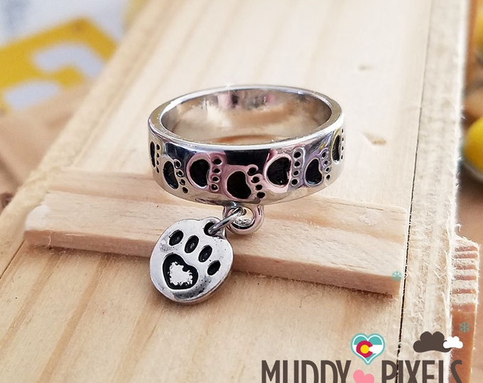 Cute Stamped Paw and Heart Silver Ring - With added charm!
