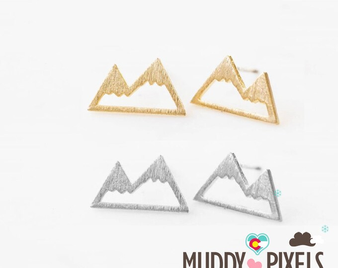 Tiny Colorado Mountain Pride Snow Earrings