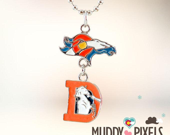 Rare! Colorado Flag w Denver Broncos Logo and Throwback 2 pc Necklace!