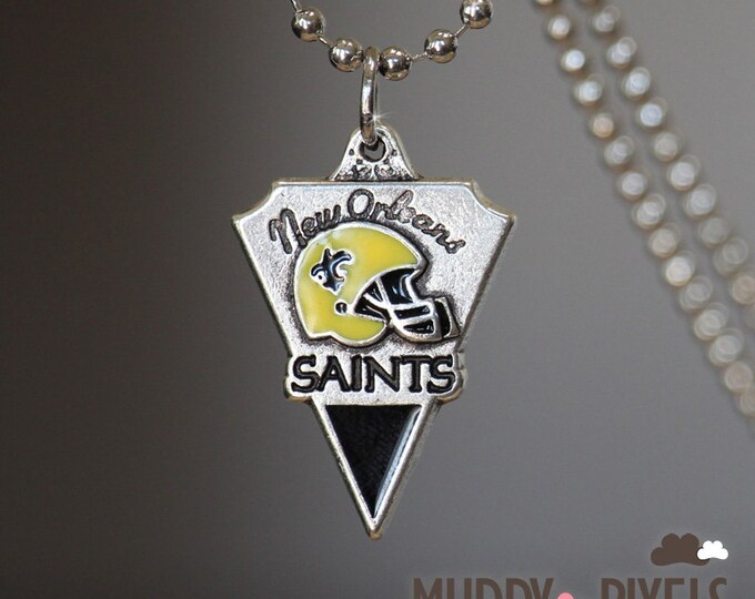 New Orleans Saints Football Charm Logo on Silver Necklace