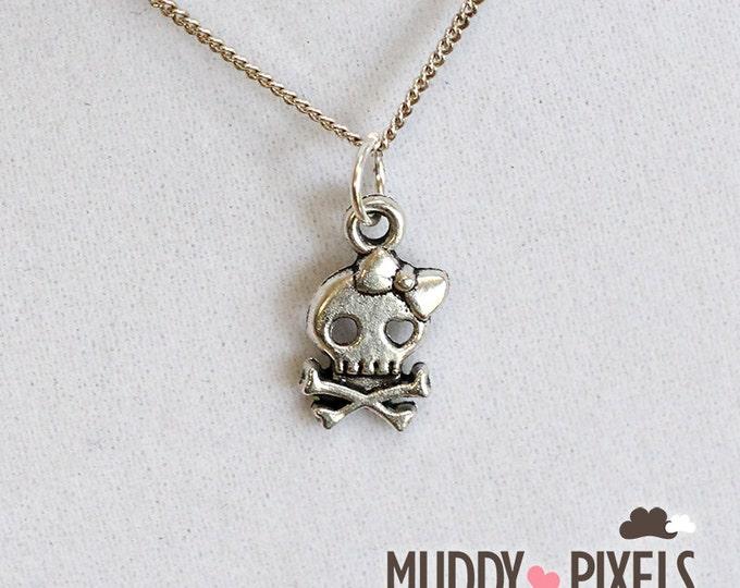 Kawaii Little Spooky Crossbone Skull Necklace - So cute!