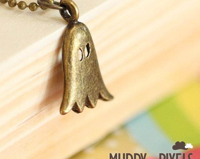 Kawaii Little Spooky Cute Ghost Necklace - Ancient Bronze