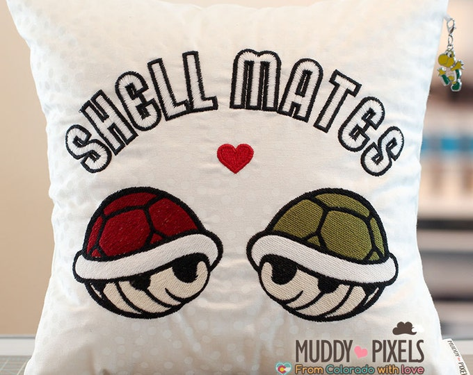 "Mario Bros Turtle ""Shell Mates"" Humorous Charm Pillow"