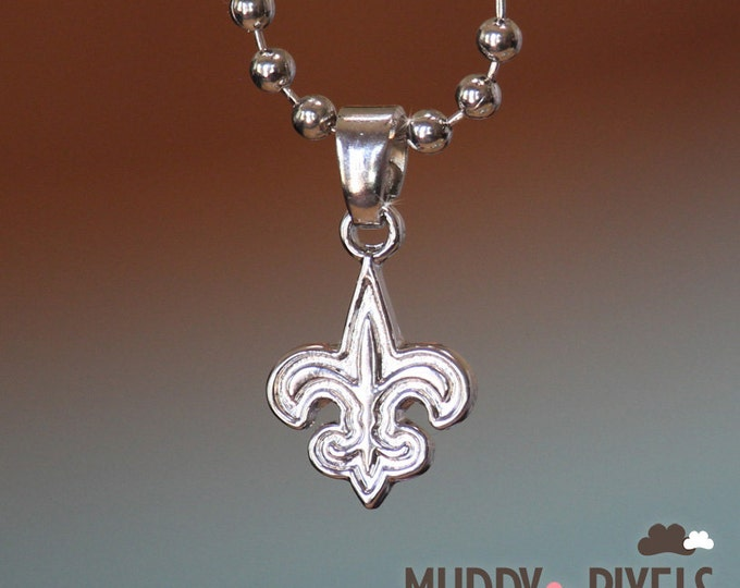 Tiny New Orleans Saints Football Charm Logo on Silver Necklace