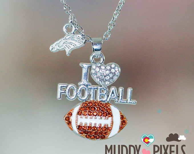 Denver Broncos I love Football Crystal Heart Pendant
