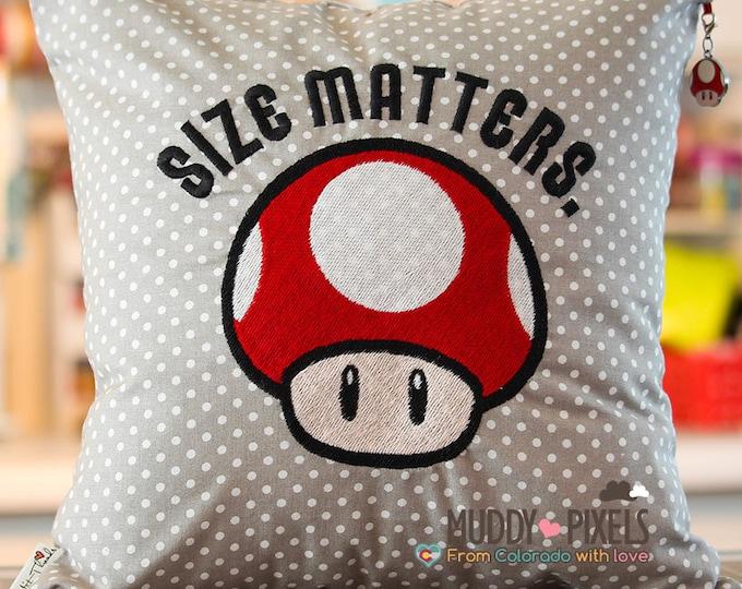 "Mario Bros Life Mushroom ""Size Matters"" Humorous Charm Pillow"