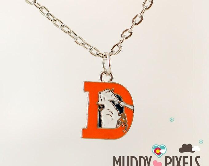 Rare! Throwback Denver Broncos Colorado Logo Resin Coated Necklace!