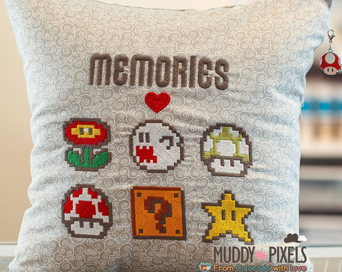 Mario Bros Old School Items Charm Pillow