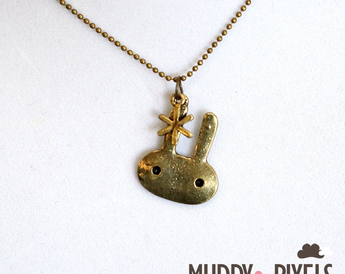 Kawaii Little Bunny Necklace - Ancient Bronze