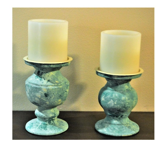Candle Holders Turquoise Pair