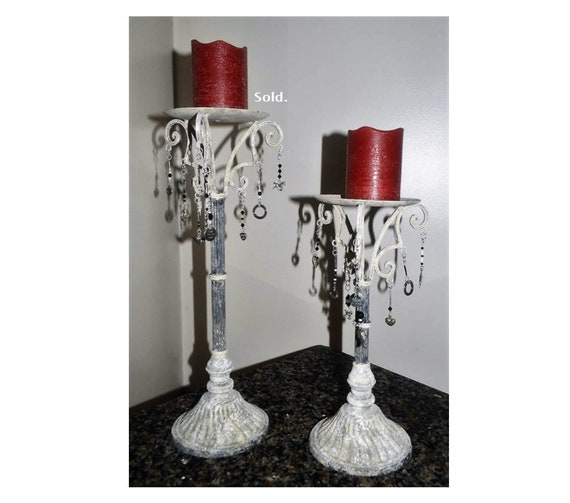 Sold - Vintage Cast Iron Candle Holders