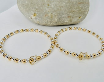 Beaded Floating Bracelet mixed metals