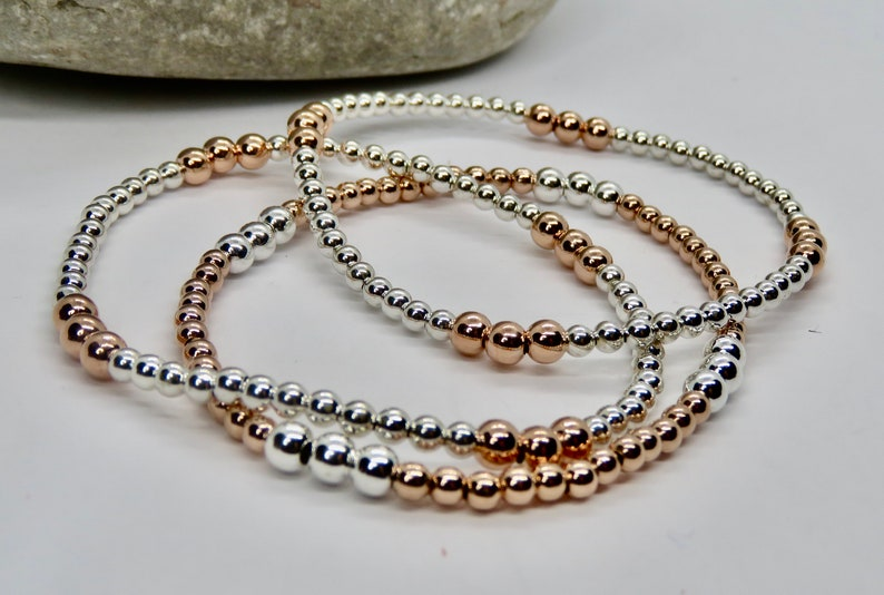 Sterling Silver /& Sterling Silver with Rose Gold Beads Set of Three Minimalist Jewellery Stacking Bracelets Stretch Bracelets