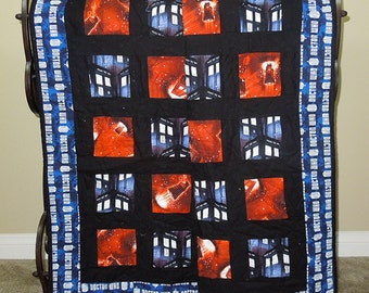 """BBC Doctor Who Quilt - 52.5"""" X 53.5"""" - Blue, orange, black with a flannel Doctor Who backing. Man Gift, Dr Who Fan, Phone Booth, Tardis"""