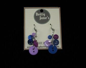 Purple Button Earings