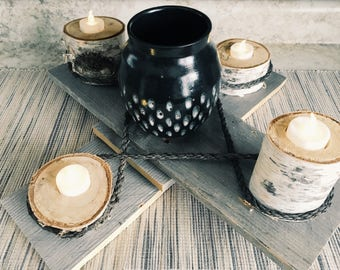 Birch log table centerpiece. Candle holder. Gifts. Ready to ship. Holiday.