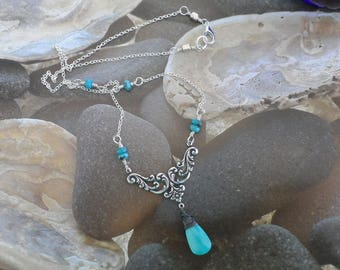 Romantic Sleeping Beauty Turquoise Silver Necklace