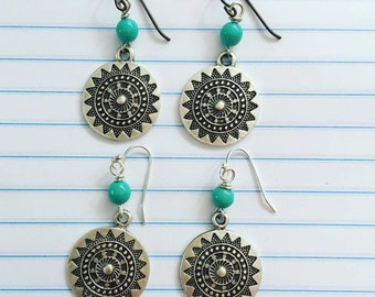 Sunny Day Earrings/ Your choice of one set/Bali Style/sun/turquoise/nature jewelry/summer jewelry