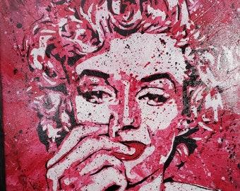 Canvas Wall Art- Marilyn #1 - Signed, Original Art - Acrylic on 22x28 canvas, Framed in black- Stencil Art - By Baker Joe Art