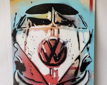 """Original Up-cycled Artwork - VW - Signed, Acrylic on 12x18 recycled """" Loading Zone"""" street sign - Pop Art - By Baker Joe"""