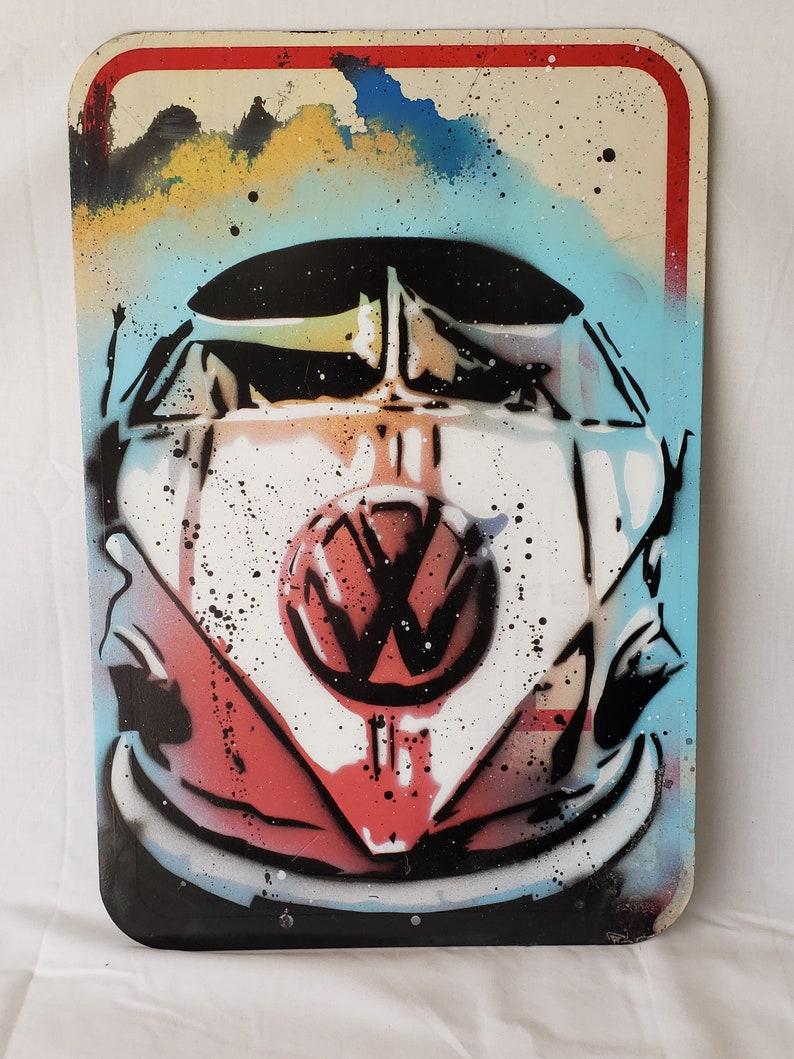 Original Up-cycled Artwork  VW  Signed Acrylic on 12x18 image 0