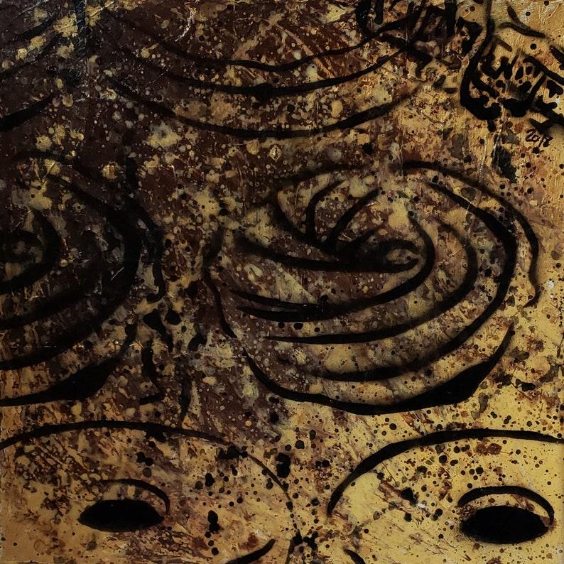 Original Art Golden Doughnuts  Signed Acrylic on 12x12 image 0