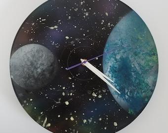 "Blue Planet & Moon 12"" Vinyl Record Wall Clock By Baker Joe Art"