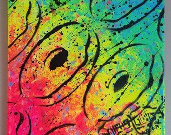 Canvas Wall Art- Neon Doughnuts- Signed, Original Art- Acrylic on 12x12  canvas - Pop Art – Stencil Art- By Baker Joe Art