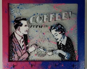 Original Artwork - Coffee! Fresh!!! - Signed, 24x28 acrylic on recycled single pane textured window - Pop Art - By Baker Joe Art