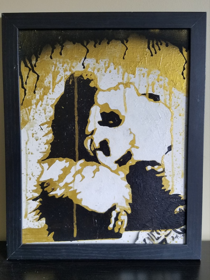 Canvas Wall Art Baby Panda Gold  Signed Original image 0