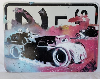 """Original Up-cycled Artwork - Rod Race - Signed, Acrylic on 18x24 recycled """"speed limit 20"""" street sign - Pop Art - By Baker Joe"""